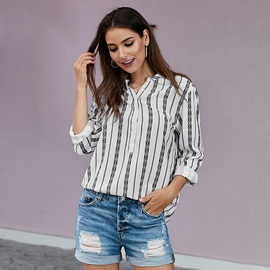 V-neck Striped Hedging Ethnic Style Shirt  NSSI39731