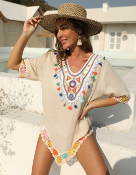 Ethnic Color Embroidery Stitching Loose Beach Dress  NSOY39735