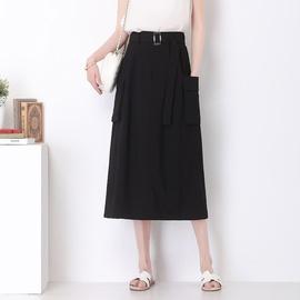 Fashion High Waist Ice Silk Mid-length Skirt  NSYZ39748