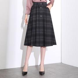 Mid-length Elastic Waist Plaid Pleated Skirt NSYZ39750