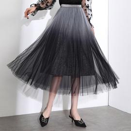 Net Gauze Bright Diamond Lining Mid-length Skirt NSYZ39752