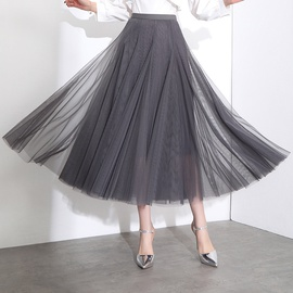 Mesh High Waist Drape Big Swing Skirt NSYZ39753