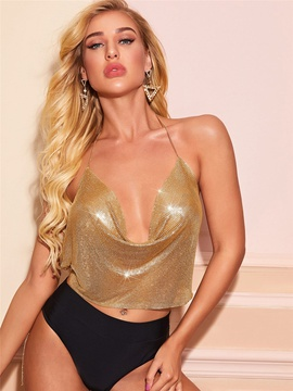 Low-cut Halter Metal Sequin Tethered Sling Vest  NSXYA39782