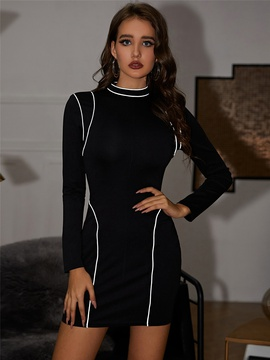 Reflective Strip Long Sleeve High Waist Dress NSXYA39795