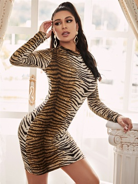 Sexy Tiger Print Slim Long Sleeve Long Dress NSXYA39806