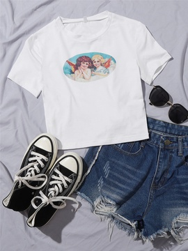 Oil Painting Printing Casual Cropped T-shirt  NSXYA39815