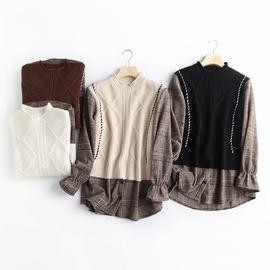 Fake Two Piece Half High Neck Knit Plaid Stitching Shirt  NSAM39831