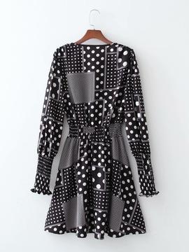 Square Polka Dot Printing Cross Waist Dress NSAM39833