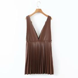 Imitation Leather V-neck Foldover Suspender Pleated Dress NSAM39838