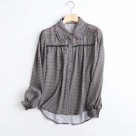 Doll Collar Lantern Sleeve Loose Plaid Shirt  NSAM39841