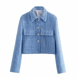 Spring Breasted Texture Short Suit Jacket  NSAM39845