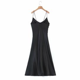 Spring Silk Satin Texture Suspender Dress NSAM39847