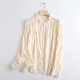 Lace Color Matching Long-sleeved Satin Shirt NSAM39854