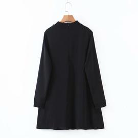 Half High Neck Drape Black Base Dress NSAM39859