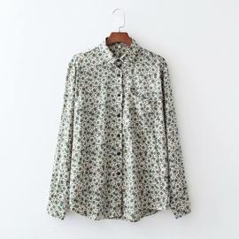 Spring Single Pocket Silk Drape Blouse NSAM39860