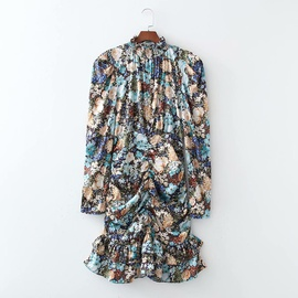 Spring Leg Of Lamb Sleeves Pleated Fishtail Dress NSAM39861