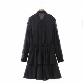 Chiffon Stitching Lace Hollow Sleeve Layered Dress NSAM39872