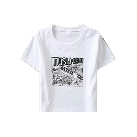 Cartoon Printing Round Neck Short Sleeve T-shirt  NSLD39878
