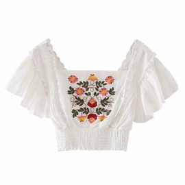 Fashion Embroidery Flower Small Flying Sleeve Chiffon Shirt  NSLD39883