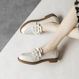 Fashion Pearl Decoration Flat Small Leather Shoes NSCA39908