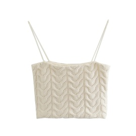 Twist Woven Sexy Solid Color Short Knitted Sling NSHS39913