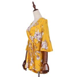 Fashion Sexy V-neck Printed Slim Chiffon Jumpsuit NSJR39931