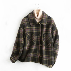 Small Plaid Short Double-faced Cashmere Jacket NSAM39843