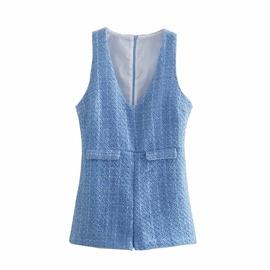 Spring Retro Texture Short Jumpsuit  NSAM39835