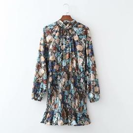 Spring Elastic Bag Hip Long-sleeved Dress NSAM39834