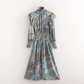 Print Stand Collar Lantern Sleeve Long Dress NSAM39852