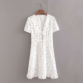 Spring Cotton Hollow Printed Dress  NSAM39848