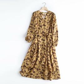 Loose V-neck Lace-up Long-sleeved Shirt Dress NSAM39832