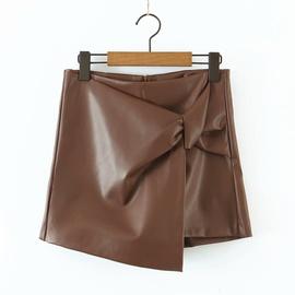 Knot Design Asymmetric Imitation Leather Shorts NSAM39871