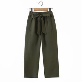 Spring Tie Belt Elastic Waist Wide Leg Pants  NSAM39862