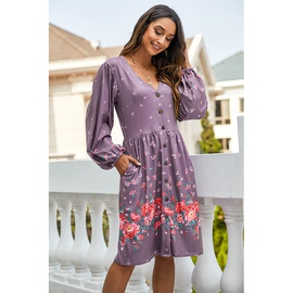 New Printed Long-sleeved Loose High-waist V-neck Dress NSSA39941
