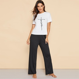 Casual Round Neck Letter Short-sleeved Trousers Suit  NSSA39939