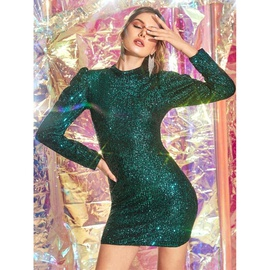 New Sexy Crystal Collar Slim Long-sleeved Dress  NSSA39948