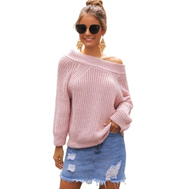 Strapless Diagonal Collar Loose Thick Pullover Sweater NSSA39949