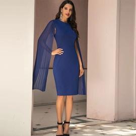 Blue Slim Bat Sleeve High Waist Round Neck Dress NSSA39965