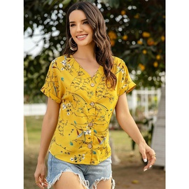 Printing All-match Chiffon Short-sleeved V-neck Shirt  NSSA39971