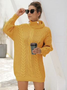 Hedging Mid-length High-neck Twist Knitted Sweater NSSA39982