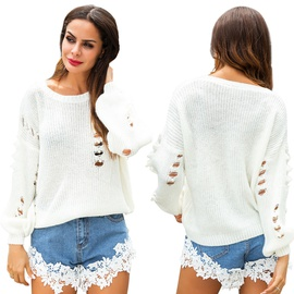 Casual Pearl Hollow Perspective Knit Sweater NSSA39984
