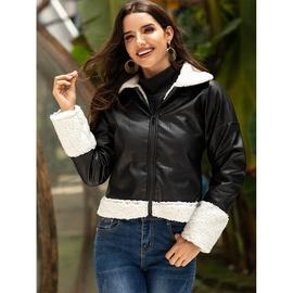 Fashion Black Warm Lapel Long-sleeved Slim Jacket  NSSA39985
