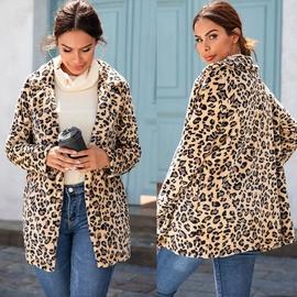 Warm Lapel Leopard Print Mid-length Woolen Coat NSSA39987