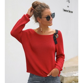 Off-the-shoulder Round Neck Lace-up Sweater NSSA40009