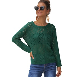 Wave Long-sleeved Round Neck Sweater NSSA40031