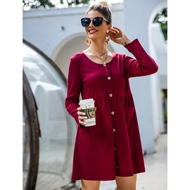 Casual Loose Solid Color Round Neck Single-breasted Dress NSSA40039