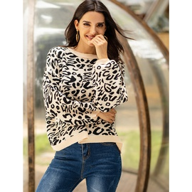 Leopard Print Round Neck Long-sleeved Loose Bottoming Sweater NSSA40041