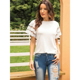 White Casual Round Neck Slim-fit Short-sleeved Lace T-shirt  NSSA40046