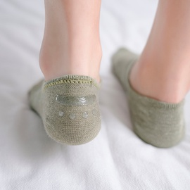 Breathable Solid Color Cotton Mesh Boat Socks  NSFN40083